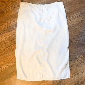 Old Navy White 100% Linen Drawstring Skirt-Sz 20